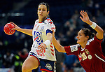 BELGRADE, SERBIA - DECEMBER 16:  Andrea Lekic (L) of Serbia is challenged by Viktoria Redei-Soos (R) of Hungary during the Women's European Handball Championship 2012 third place match between Hungary and Serbia at Arena Hall on December 16, 2012 in Belgrade, Serbia. (Photo by Srdjan Stevanovic/Getty Images)