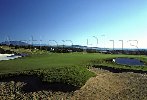 A view of the 2nd green and bunkers at Valderrama Golf Course, Southern Spain. Photo: Brian Morgan/actionplus...golf 011 venue venues courses bunkers green