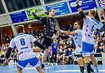 Lukas Nilsson, (THW Kiel #65)  / Harald Reinkind, (THW Kiel #6) /  Faluvegi, Rudolf (TVB Stuttgart #8) / Spaeth, Manuel (TVB Stuttgart #9) / TVB 1898 Stuttgart - THW Kiel / DHB Pokal Viertelfinale / HBL / 1.Handball-Bundesliga / SCHARRrena / Stuttgart Baden-Wuerttemberg / Deutschland beim Spiel im DHB Pokal Viertelfinale, TVB 1898 Stuttgart - THW Kiel.<br /> <br /> Foto © PIX-Sportfotos *** Foto ist honorarpflichtig! *** Auf Anfrage in hoeherer Qualitaet/Aufloesung. Belegexemplar erbeten. Veroeffentlichung ausschliesslich fuer journalistisch-publizistische Zwecke. For editorial use only.