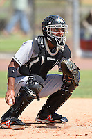 GCL Marlins catcher Angel Reyes (17) during practice before a game against the GCL Nationals on June 28, 2014 at the Carl Barger Training Complex in Viera, Florida.  GCL Nationals defeated the GCL Marlins 5-0.  (Mike Janes/Four Seam Images)