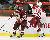 Paul Carey (BC - 22), Alex Fallstrom (Harvard - 16) - The Boston College Eagles defeated the Harvard University Crimson 3-2 on Wednesday, December 9, 2009, at Bright Hockey Center in Cambridge, Massachusetts.