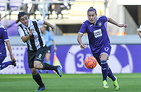 20190807 - ANDERLECHT, BELGIUM : Anderlecht's Laura Roxana Rus pictured in a fight for the ball with PAOK's Natalia Chatzigiannidou  (left) during the female soccer game between the Belgian RSCA Ladies – Royal Sporting Club Anderlecht Dames  and the Greek FC PAOK Thessaloniki ladies , the first game for both teams in the Uefa Womens Champions League Qualifying round in group 8 , Wednesday 7 th August 2019 at the Lotto Park Stadium in Anderlecht  , Belgium  .  PHOTO SPORTPIX.BE | DAVID CATRY