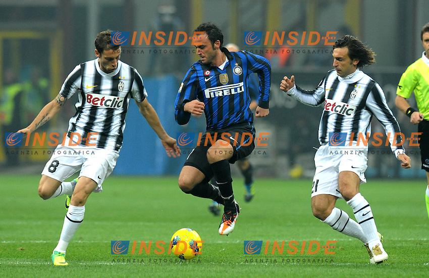 "Giampaolo PAZZINI (Inter), Claudio MARCHISIO, Andrea PIRLO (Juventus).Milano 29/10/2011 Stadio ""Giuseppe Meazza"".Serie A 2011/2012.Football Calcio Inter Vs Juventus.Foto Insidefoto Alessandro Sabattini."