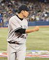 Masahiro Tanaka (Yankees),<br /> APRIL 4, 2014 - MLB :<br /> Masahiro Tanaka of the New York Yankees celebrates during the baseball game against the Toronto Blue Jays at Rogers Centre in Toronto, Ontario, Canada. Tanaka made his major league debut in the 7-3 Yankees win. (Photo by AFLO)