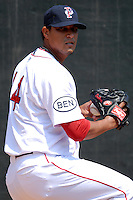Pitcher Felix Doubront #44 of the Pawtucket Red Sox prior to a game versus the Toledo Mud Hens  on May 3, 2011 at McCoy Stadium in Pawtucket, Rhode Island. Photo by Ken Babbitt /Four Seam Images