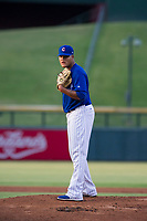 AZL Cubs starting pitcher Yunior Perez (72) looks to his catcher for the sign against the AZL Royals on July 19, 2017 at Sloan Park in Mesa, Arizona. AZL Cubs defeated the AZL Royals 5-4. (Zachary Lucy/Four Seam Images)