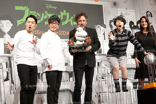 """December 3, 2012, Tokyo, Japan - (L-R) Atsuhiko Nakata, Shingo Fujimori, Tim Burton, Haruka Minowa and Allison Abbate react during a press conference for the film, """"Frankenweenie."""" The film will be released in Japan movie theaters on December 15. (Photo by Christopher Jue/Nippon News)"""