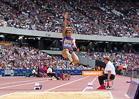 Jazmin Sawyers of GBR (Women's Long Jump) during the Long Jump during the Sainsbury's Anniversary Games, Athletics event at the Olympic Park, London, England on 25 July 2015. Photo by Andy Rowland.