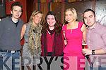 Killian O'Grady (Killarney) Grainne O'Connor (Castleisland) Fiona McCarthy (Tralee) Caroline Green (Cork) and Conor Brosnan (Castleisland) enjoying the New Year's Eve celebrations in Charlie Foley's bar, Killarney.
