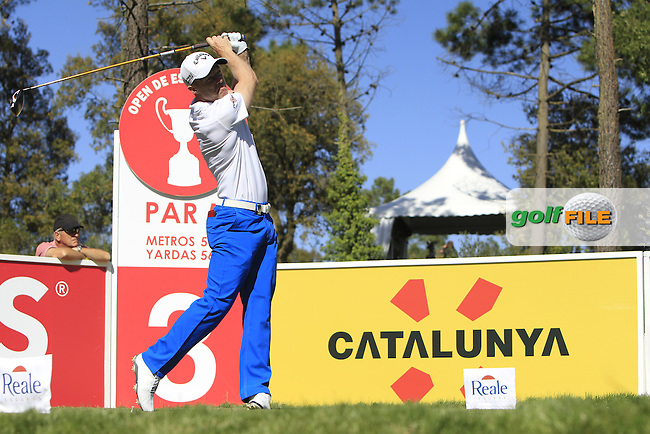 David Horsey (ENG) on the 3rd tee during Thursday's Round 1 of The Open De Espana at The PGA Catalunya Resort. 15th May 2014.<br /> Picture:  Thos Caffrey / www.golffile.ie