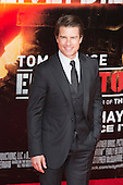 """Actor Tom Cruise. First World Premiere of the new Tom Cruise and Emily Blunt movie """"Edge of Tomorrow"""" at the BFI IMAX cinema in London, United Kingdom. As the film is about reliving the events of one day over and over in an epic battle to save the world, the stars of """"Edge of Tomorrow"""" take part in a worldwide event when, for the first time ever, three fan premieres will be held in three different countries in just one day."""