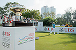 Thitiphun Chuayprakong of Thailand tees off the first hole while the Trophy is on display during the 58th UBS Hong Kong Golf Open as part of the European Tour on 11 December 2016, at the Hong Kong Golf Club, Fanling, Hong Kong, China. Photo by Marcio Rodrigo Machado / Power Sport Images
