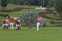Phachara Khongwatmai (Asia) on the 18th fairway during the Friday Foursomes of the Eurasia Cup at Glenmarie Golf and Country Club on the 12th January 2018.<br /> Picture:  Thos Caffrey / www.golffile.ie