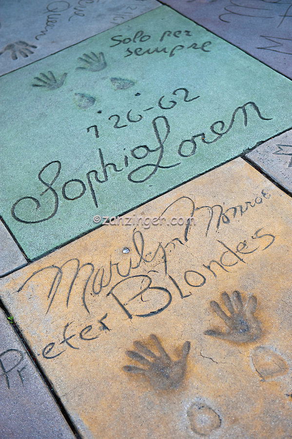 Grauman's, Chinese, Theatre,  Marilyn Monroe, Sophia Loren,  Movie Stars, Hand - Footprint, Impressions, Hollywood,  CA