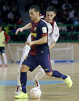 Caja Segovia's Antonito Sierra (b) and FC Barcelona Alusport's Saad Assis during Spanish National Futsal League match.November 24,2012. (ALTERPHOTOS/Acero) /NortePhoto