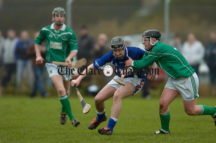 Ross Horan of St Flannan's is tackled by St Colman's Don O Connell during their Harty Cup semi final in Cloughan.Photograph by John Kelly.