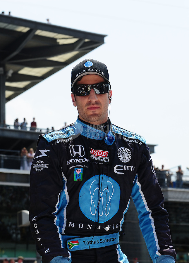 May 30, 2010; Indianapolis, IN, USA; IndyCar Series driver Tomas Scheckter during the Indianapolis 500 at the Indianapolis Motor Speedway. Mandatory Credit: Mark J. Rebilas-
