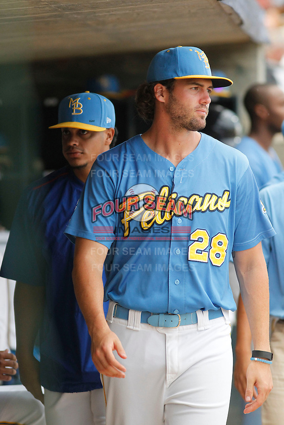 Myrtle Beach Pelicans pitcher Tyler Skulina (28) in the dugout during a game against the Carolina Mudcats at Ticketreturn.com Field at Pelicans Ballpark on June 4, 2015 in Myrtle Beach, South Carolina. Carolina defeated Myrtle Beach 3-2. (Robert Gurganus/Four Seam Images)