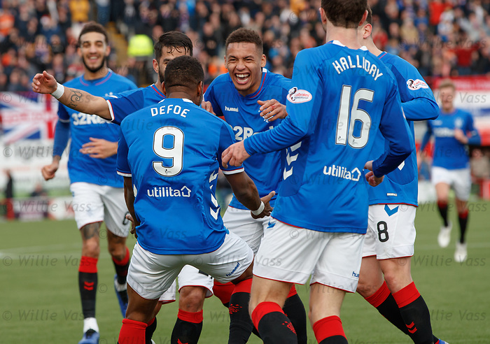 24.02.2019: Hamilton v Rangers: Jermain Defoe takes the acclaim after scoring