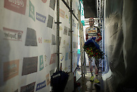 "Klaas Vantornout (BEL/Sunweb-Napoleon Games) ""back stage"" after the podium ceremony<br /> <br /> Druivencross Overijse 2014"
