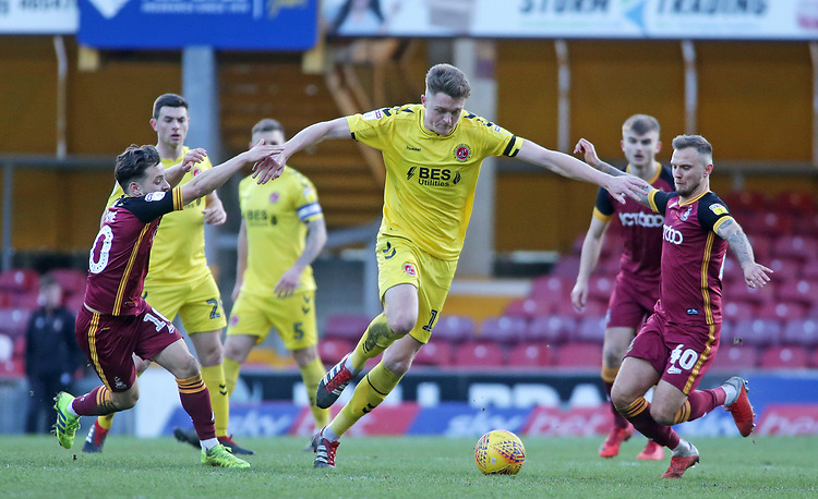 Fleetwood Town's Harry Souttar gets between Bradford City's Jack Payne (left) & Bradford City's David Ball<br /> <br /> Photographer David Shipman/CameraSport<br /> <br /> The EFL Sky Bet League One - Bradford City v Fleetwood Town - Saturday 9th February 2019 - Valley Parade - Bradford<br /> <br /> World Copyright © 2019 CameraSport. All rights reserved. 43 Linden Ave. Countesthorpe. Leicester. England. LE8 5PG - Tel: +44 (0) 116 277 4147 - admin@camerasport.com - www.camerasport.com