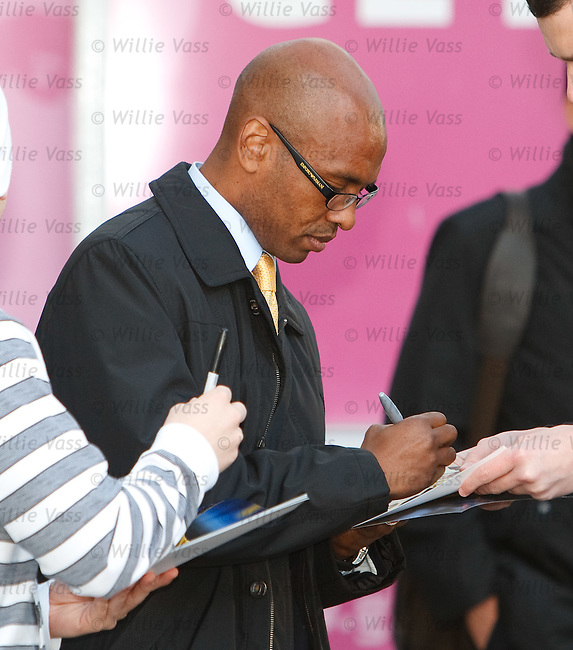 Marcos Senna signs some autographs as Villarreal arrive in Glasgow ahead of their match with Celtic