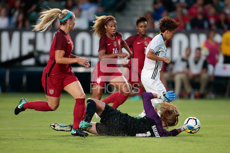 Carson, CA - Thursday August 03, 2017: Alyssa Naeher, Mina Tanaka during a 2017 Tournament of Nations match between the women's national teams of the United States (USA) and Japan (JPN) at the StubHub Center.