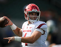 NWA Democrat-Gazette/CHARLIE KAIJOArkansas Razorbacks quarterback Ty Storey (4) practices his throw before a football game, Saturday, September 8, 2018 at Colorado State University in Fort Collins, Colo.