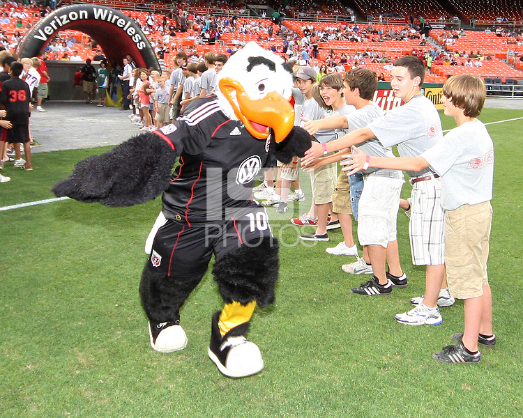 Talon, mascot of D.C. United during an MLS match against Real Salt Lake at RFK Stadium, on June 5 2010 in Washington DC. The game ended in a 0-0 tie.