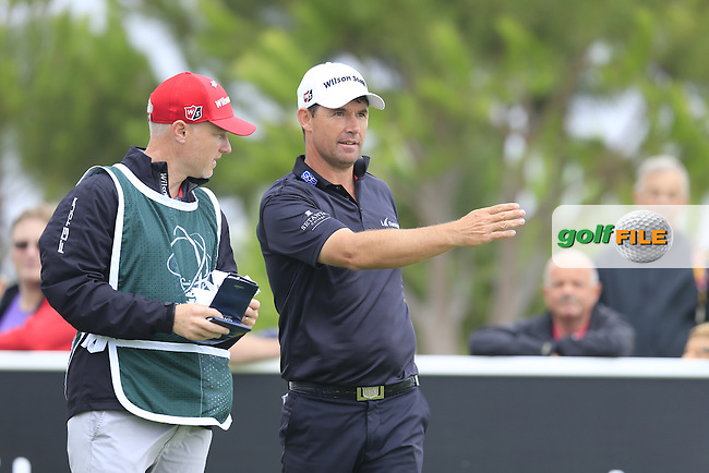 Padraig HARRINGTON (IRL) and caddy Ronan Flood on the 15th tee during Saturday's Round 3 of the Portugal Masters 2015 held at the Oceanico Victoria Golf Course, Vilamoura Algarve, Portugal. 15-18th October 2015.<br /> Picture: Eoin Clarke | Golffile<br /> <br /> <br /> <br /> All photos usage must carry mandatory copyright credit (&copy; Golffile | Eoin Clarke)