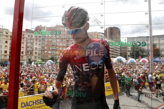 Wout Poels (NED) Team Ineos at sign on before the start of Stage 13 of La Vuelta 2019 starting in Athletic Club Bilbao's Estadio de San Mames and running 166.4km from Bilbao to Los Machucos, Spain. 6th September 2019.<br /> Picture: Luis Angel Gomez/Photogomezsport   Cyclefile<br /> <br /> All photos usage must carry mandatory copyright credit (© Cyclefile   Luis Angel Gomez/Photogomezsport)