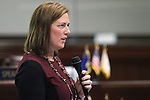 Nevada Sen. Becky Harris, R-Las Vegas, speaks on the Senate floor at the Legislative Building in Carson City, Nev., on Friday, May 22, 2015. <br /> Photo by Cathleen Allison