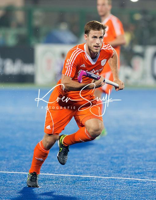 RAIPUR (India) .  Jeroen Hertzberger (Ned)   tijdens de  poulewedstrijd tussen  de mannen van Nederland en Duitsland in het  Hockey World League Finale toernooi .  © KOEN SUYK
