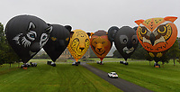 BNPS.co.uk (01202 558833)<br /> Pic: ZacharyCulpin/BNPS<br /> <br /> Up, up, and away - Europe's Largest Annual Hot Air Balloon Event is coming to Longleat this weekend.<br />  <br /> And a few of the early arrivals had a safari themed trial run today ahead of the spectacular event.<br /> <br /> More than 200 hot air balloons from around the world will be ascending from Longleat this week (Friday, 13th September - Sunday, 15th September) as part of Europe's largest annual hot air balloon event.<br />  <br /> Now in its fourth year, Sky Safari is one of the Wiltshire attraction's most popular events; featuring spectacular mass launches, tethered daytime displays and dramatic night glows.
