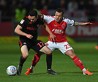 Fleetwood Town's Ross Wallace battles with Sunderland's Lewis Morgan<br /> <br /> Photographer Dave Howarth/CameraSport<br /> <br /> The EFL Sky Bet League One - Fleetwood Town v Sunderland - Tuesday 30th April 2019 - Highbury Stadium - Fleetwood<br /> <br /> World Copyright © 2019 CameraSport. All rights reserved. 43 Linden Ave. Countesthorpe. Leicester. England. LE8 5PG - Tel: +44 (0) 116 277 4147 - admin@camerasport.com - www.camerasport.com