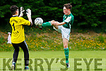 Alex Kepp Castleisland gets to the ball ahead of the Killarney Celtic keeper during the Tom Hayes Shield u14 final in Ballyhar on Saturday