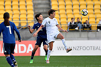 Ferns&rsquo; Amber Hearn and Japan&rsquo;s Saki Kumagai in action during the  International Football - Football Ferns v Japan  at Westpac Stadium, Wellington, New Zealand on Sunday 10 June 2018.<br /> Photo by Masanori Udagawa. <br /> www.photowellington.photoshelter.com