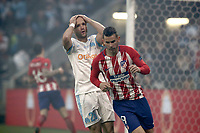 Olympique de Marseille's Valere Germain, left, reacts past  during the UEFA Europa League final football match between Olympique de Marseille and Club Atletico de Madrid's Lucas Hernandez at the Groupama Stadium in Decines-Charpieu, near Lyon, France, May 16, 2018.<br /> UPDATE IMAGES PRESS/Isabella Bonotto
