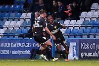 Neil Danns celebrates scoring Bury's opening goal during Gillingham vs Bury, Sky Bet EFL League 1 Football at the MEMS Priestfield Stadium on 11th November 2017