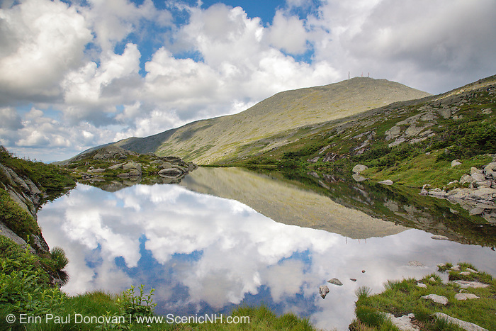 Reflection of Mount Washington in Lakes of the Clouds along the Appalachian Trail in the White Mountains, New Hampshire USA during the summer months.