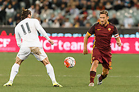 Melbourne, 18 July 2015 - Francesco Totti of AS Roma kicks the ball in game one of the International Champions Cup match at the Melbourne Cricket Ground, Australia. Roma def Real Madrid 7-6 Penalties. Photo Sydney Low/AsteriskImages.com