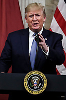 United States President Donald J. Trump speaks during a dinner hosted by the Secretary of the Treasury in honor of Qatar's Emir Sheikh Tamim bin Hamad Al Thani on July 8, 2019 in Washington, DC. Photo Credit: Oliver Contreras/CNP/AdMedia