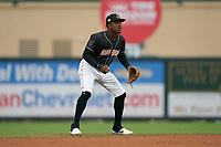 Jupiter Hammerheads shortstop Demetrius Sims (5) during a Florida State League game against the Lakeland Flying Tigers on August 12, 2019 at Roger Dean Chevrolet Stadium in Jupiter, Florida.  Jupiter defeated Lakeland 9-3.  (Mike Janes/Four Seam Images)