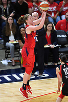 Washington, DC - Sept 17, 2019: Washington Mystics center Emma Meesseman (33) connects from downtown during WNBA Playoff semi final game between Las Vegas Aces and Washington Mystics at the Entertainment & Sports Arena in Washington, DC. The Mystics hold on to beat the Aces 97-95. (Photo by Phil Peters/Media Images International)