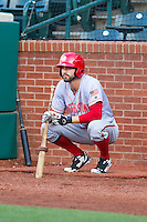 Jeff Kobernus (7) of the Hagerstown Suns waits for his turn to hit during the game against the Greensboro Grasshoppers at NewBridge Bank Park on May 20, 2014 in Greensboro, North Carolina.  The Grasshoppers defeated the Suns 5-4. (Brian Westerholt/Four Seam Images)