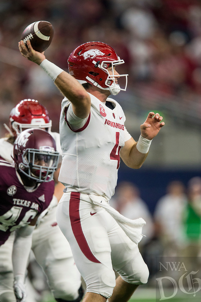 Hawgs Illustrated/Ben Goff<br /> Ty Storey, Arkansas quarterback, throws the ball in the 2nd quarter vs Texas A&M Saturday, Sept. 29, 2018, during the Southwest Classic at AT&T Stadium in Arlington, Texas.