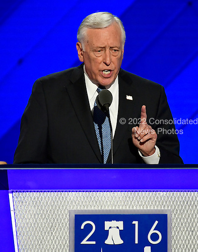 United States House Minority Whip Steny Hoyer (Democrat of Maryland), the parliamentarian of the convention, makes remarks at the 2016 Democratic National Convention at the Wells Fargo Center in Philadelphia, Pennsylvania on Monday, July 25, 2016.<br /> Credit: Ron Sachs / CNP<br /> (RESTRICTION: NO New York or New Jersey Newspapers or newspapers within a 75 mile radius of New York City)