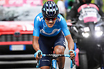 Richard Carapaz (ECU) Movistar Team attacks during Stage 14 of the 2019 Giro d'Italia, running 131km from Saint-Vincent to Courmayeur (Skyway Monte Bianco), Italy. 25th May 2019<br /> Picture: Fabio Ferrari/LaPresse | Cyclefile<br /> <br /> All photos usage must carry mandatory copyright credit (© Cyclefile | Fabio Ferrari/LaPresse)