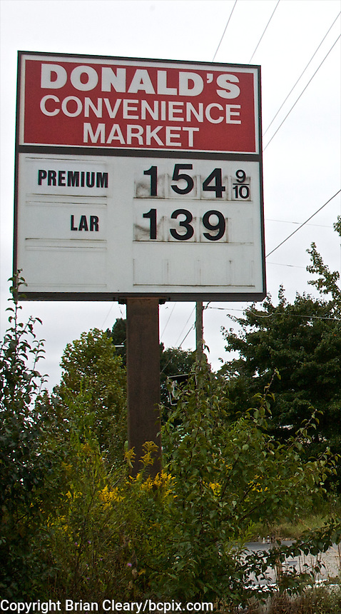 Abandoned gas station, old gas prices, Danville, VA, October 5, 2009. (Photo by Brian Cleary/www.bcpix.com)