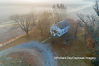 63895-16709 Pleasant Grove Methodist Church at sunrise in fog-aerial-Marion Co. IL